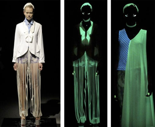 Glow-In-The-Dark at Johan Ku:Johan Ku infused his mostly-white knitwear with glow-in-the-dark magic.