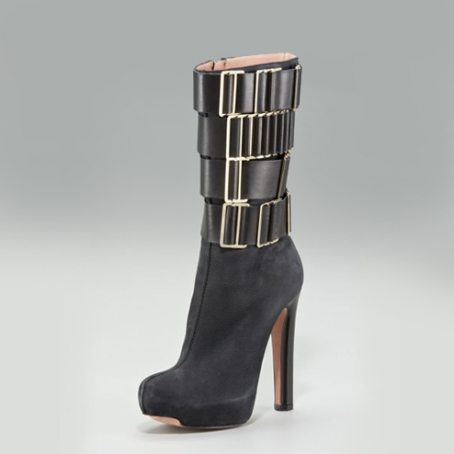 Herve-Leger Herve Leger Buckle-Shaft Platform Boot, $1,595